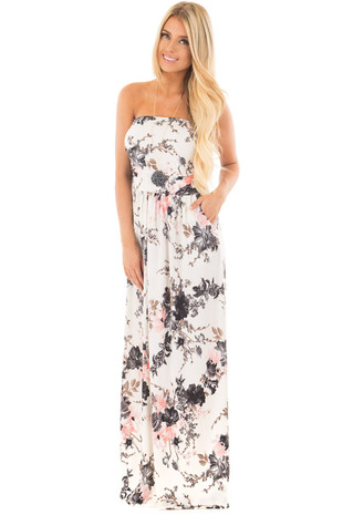 Ivory Floral Print Strapless Dress with Side Pockets front full body
