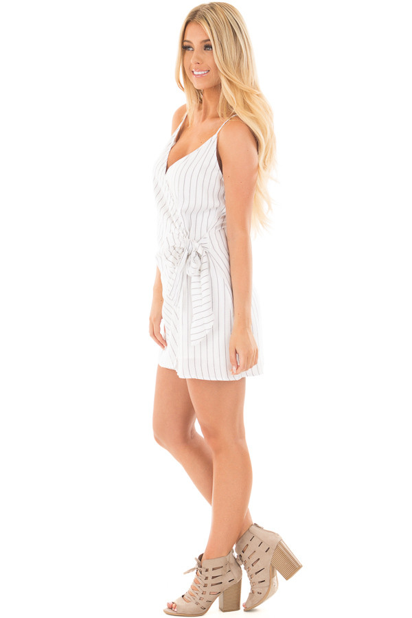 White Striped Cross Over Tank with Front Tie Detail side full body