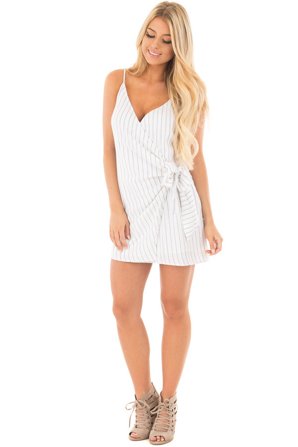 White Striped Cross Over Tank with Front Tie Detail front full body
