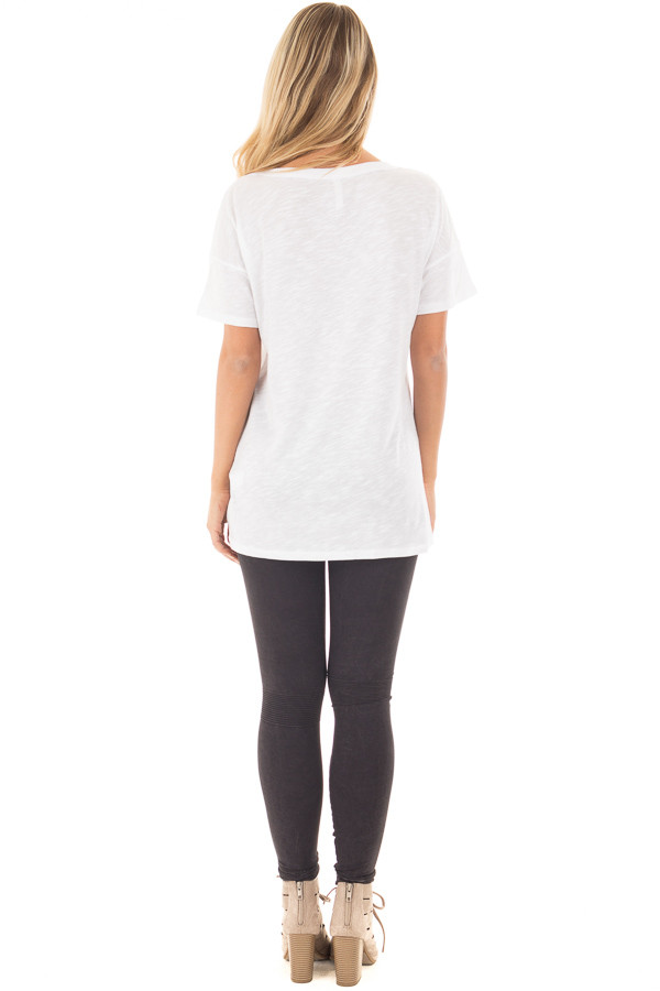 """Ivory Drop Shoulder Tee with American Flag 'Peace"""" Design back full body"""