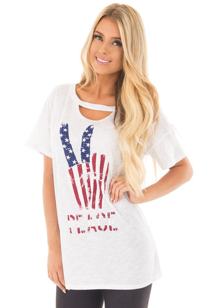 """Ivory Drop Shoulder Tee with American Flag 'Peace"""" Design front close up"""
