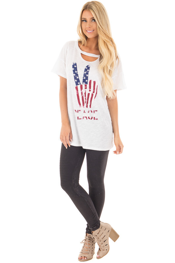"Ivory Drop Shoulder Tee with American Flag 'Peace"" Design front full body"