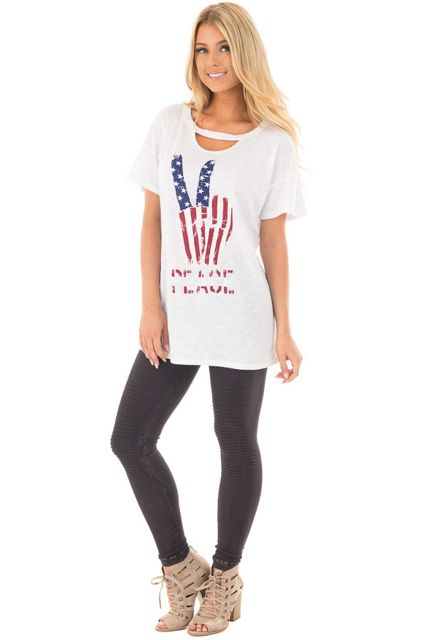 """Ivory Drop Shoulder Tee with American Flag 'Peace"""" Design front full body"""