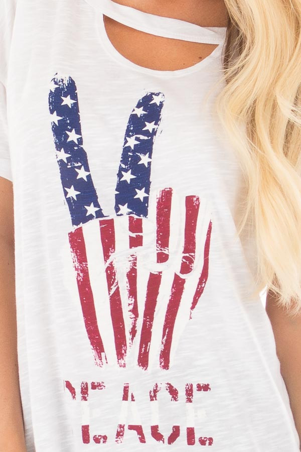 """Ivory Drop Shoulder Tee with American Flag 'Peace"""" Design detail"""