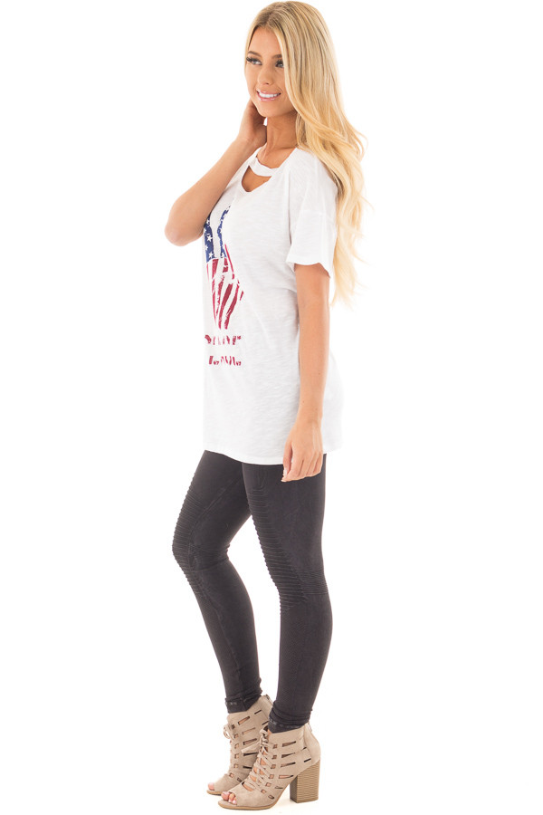 "Ivory Drop Shoulder Tee with American Flag 'Peace"" Design side full body"