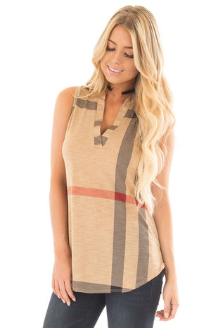 Light Mocha V Neck Plaid Print Tank front close up