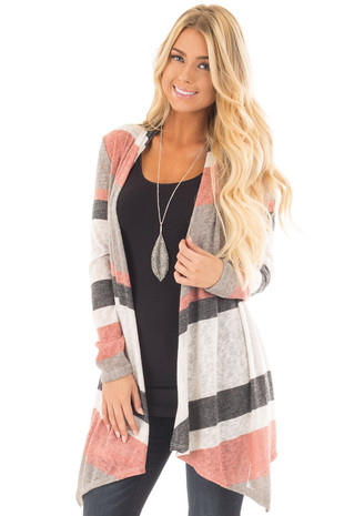 Mauve and Taupe Color Block Draped Open Knit Cardigan front close up