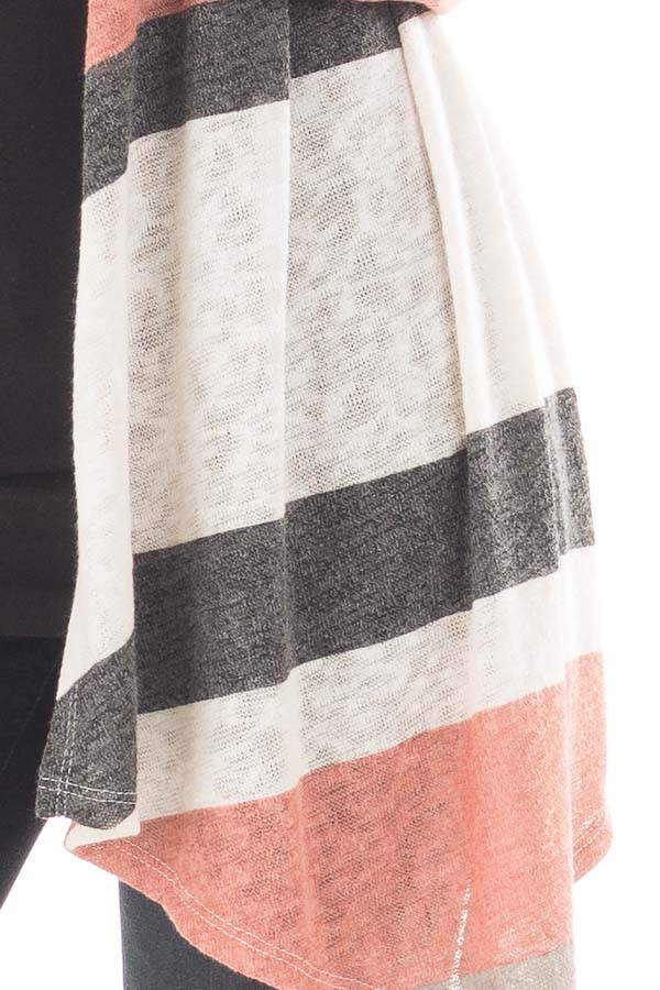 Mauve and Taupe Color Block Draped Open Knit Cardigan detail