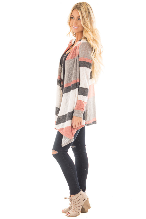Mauve and Taupe Color Block Draped Open Knit Cardigan side full body