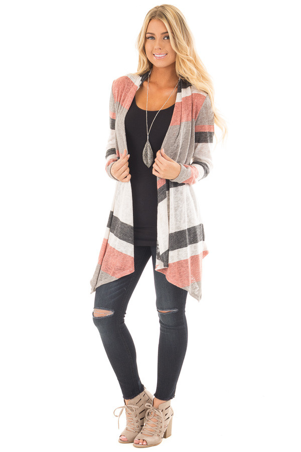Mauve and Taupe Color Block Draped Open Knit Cardigan front full body