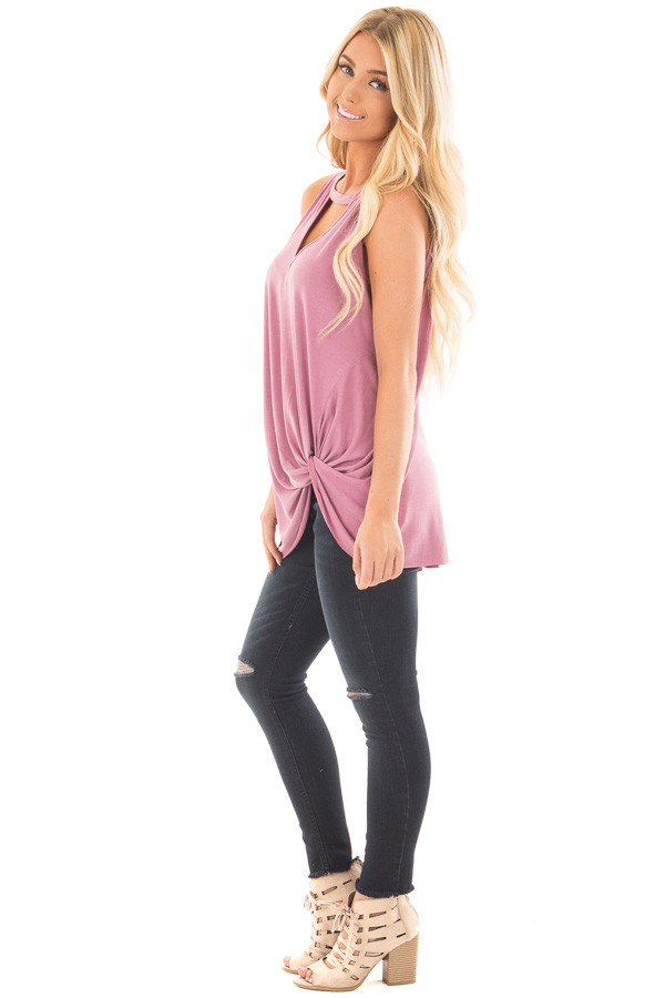 Dusty Mauve Tank Top with Twisted Front and Keyhole Neckline side full body