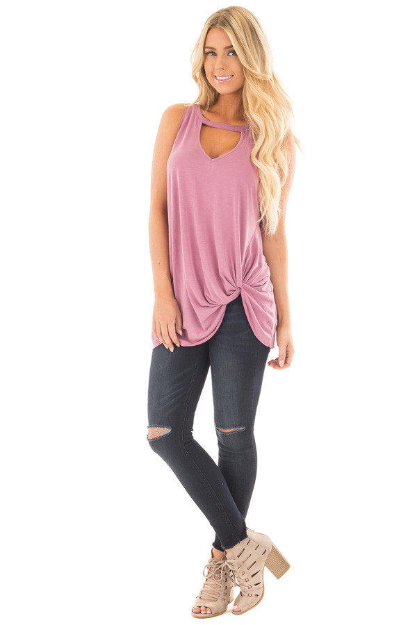 Dusty Mauve Tank Top with Twisted Front and Keyhole Neckline front full body