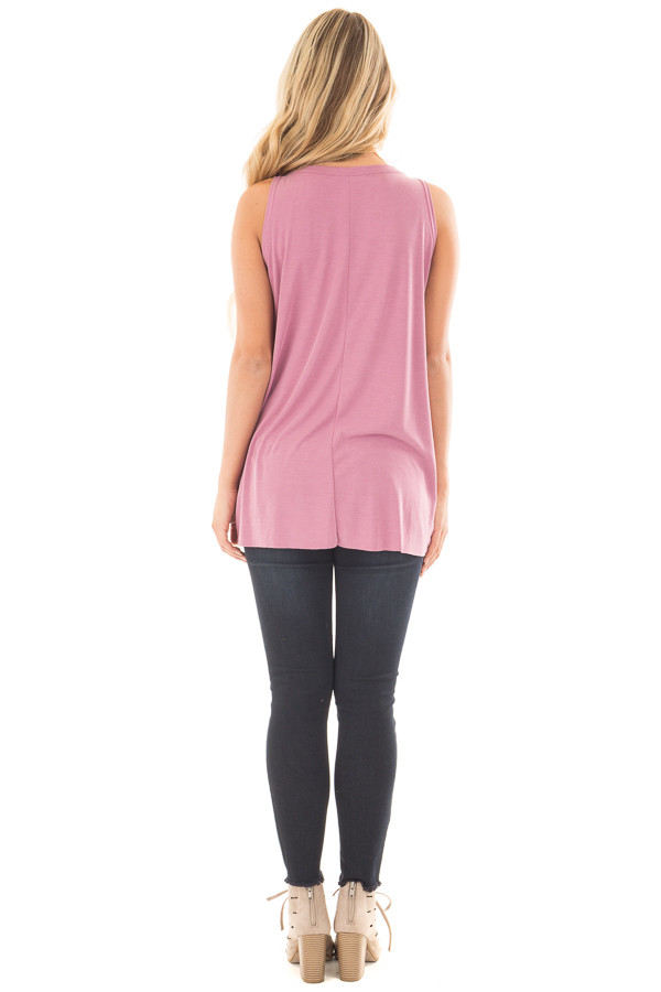 Dusty Mauve Tank Top with Twisted Front and Keyhole Neckline back full body