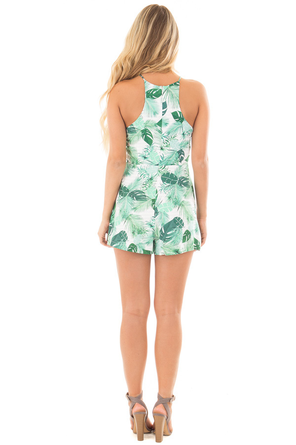 Ivory and Green Leaf Printed Halter Romper back full body