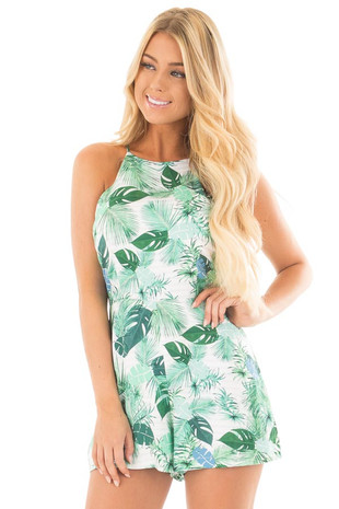 Ivory and Green Leaf Printed Halter Romper front close up