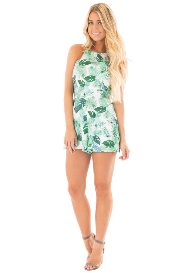 Ivory and Green Leaf Printed Halter Romper front full body