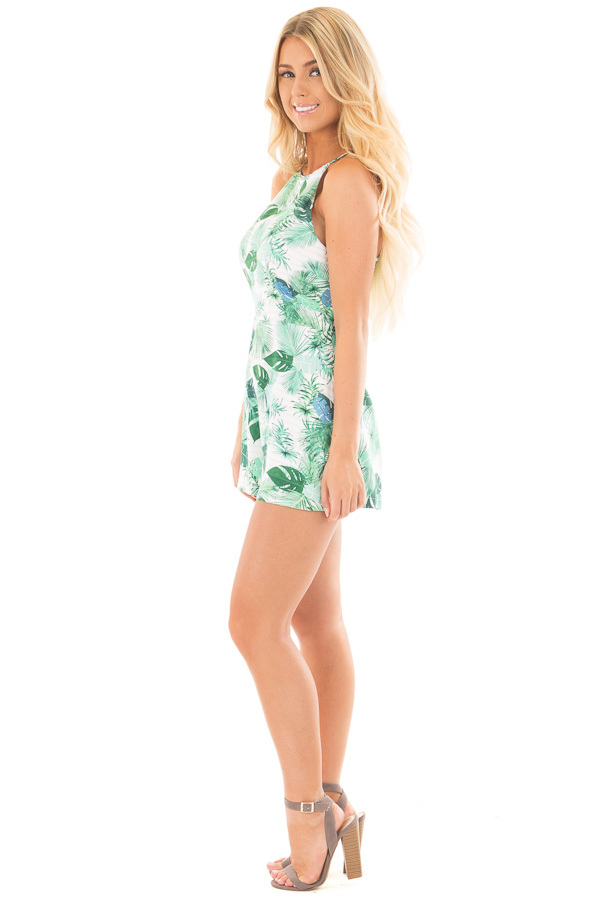 Ivory and Green Leaf Printed Halter Romper side full body
