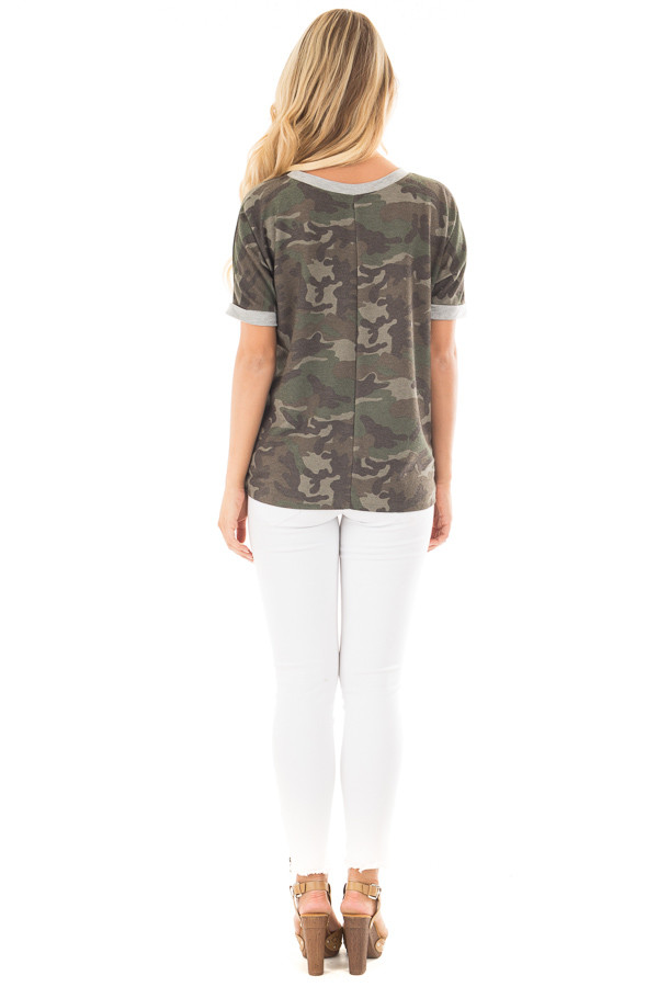 Olive Camouflage Knit Tee with Heather Grey Details back full body