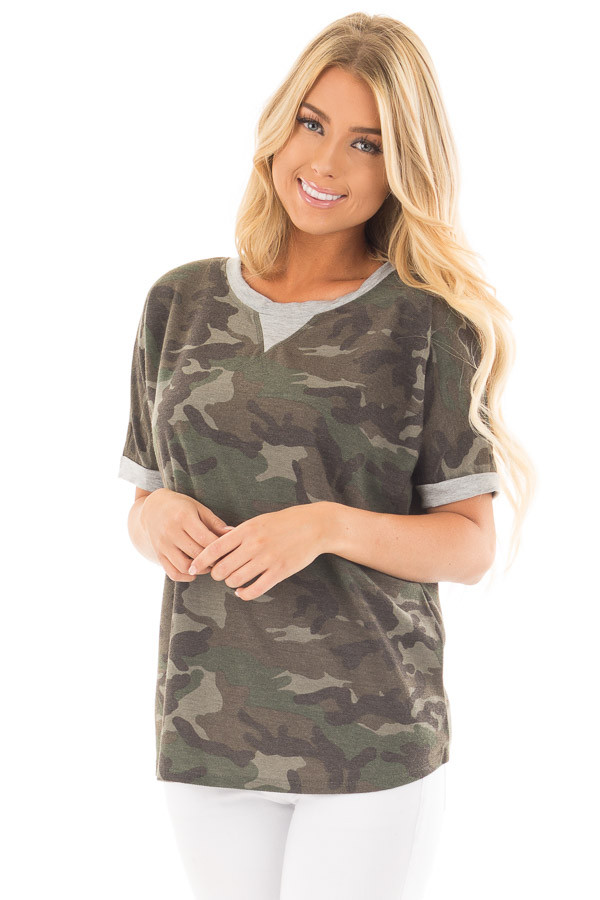 Olive Camouflage Knit Tee with Heather Grey Details front full body close up