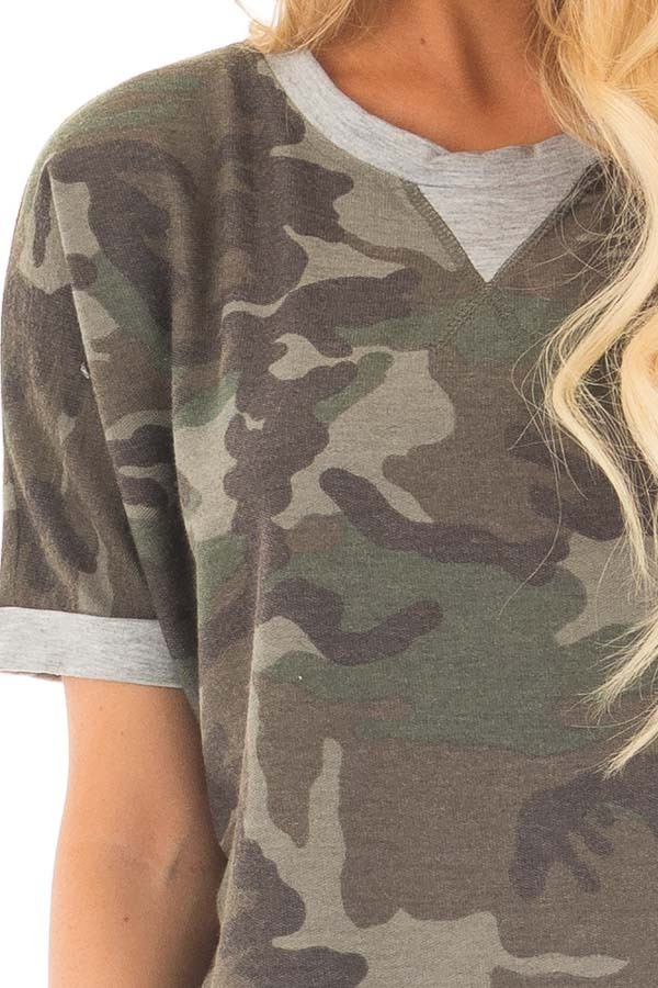 Olive Camouflage Knit Tee with Heather Grey Details detail