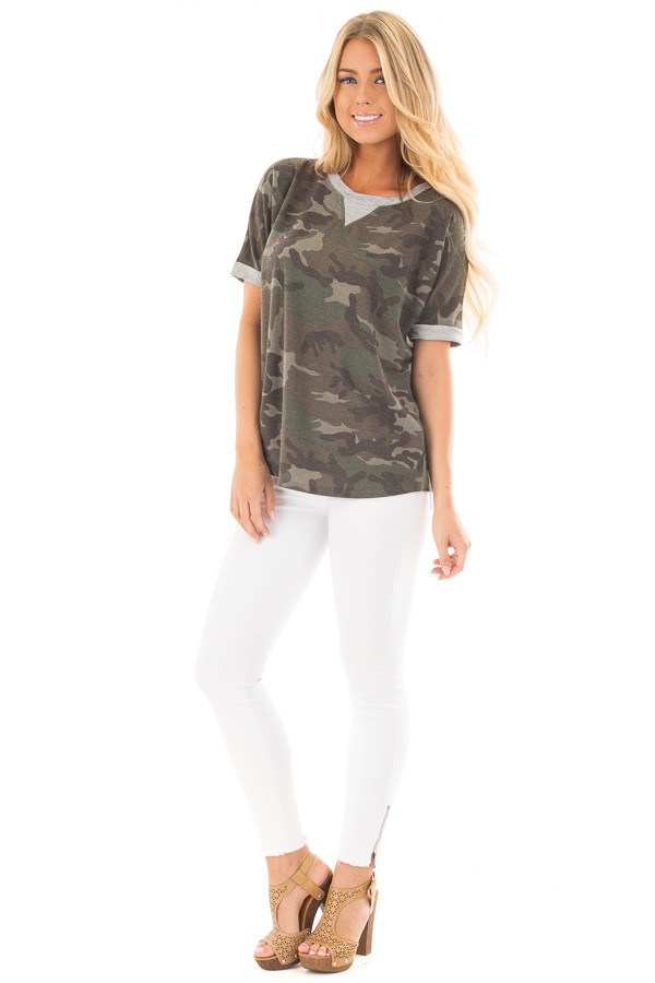 Olive Camouflage Knit Tee with Heather Grey Details front full body