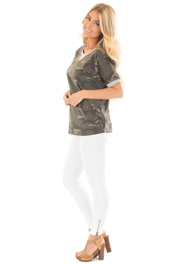 Olive Camouflage Knit Tee with Heather Grey Details side full body