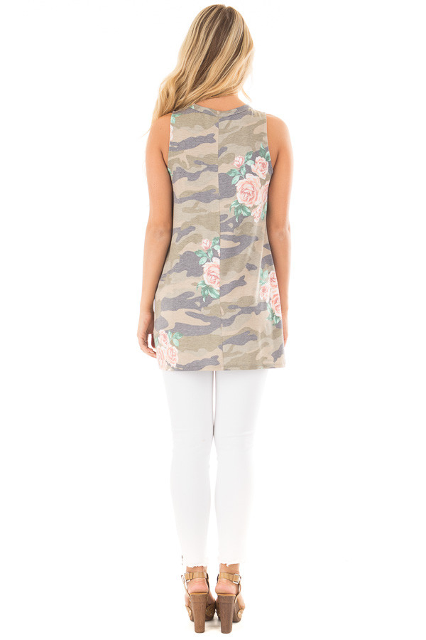 Floral Camo Tank Top with Twisted Front and Keyhole Neckline back full body
