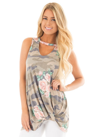 Floral Camo Tank Top with Twisted Front and Keyhole Neckline front close up