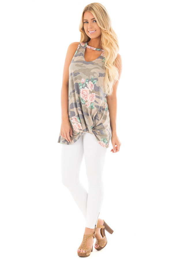 Floral Camo Tank Top with Twisted Front and Keyhole Neckline front full body