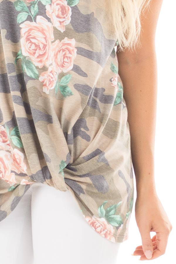 Floral Camo Tank Top with Twisted Front and Keyhole Neckline detail