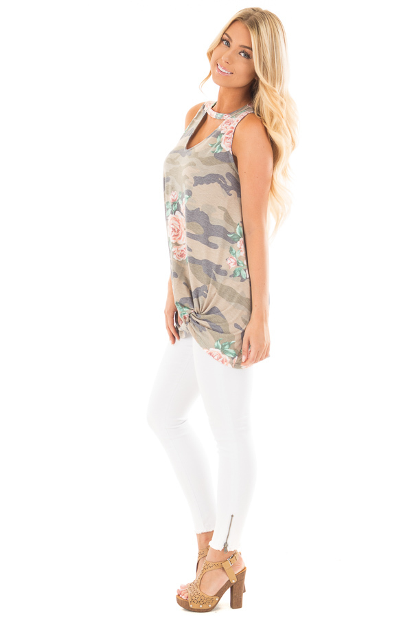 Floral Camo Tank Top with Twisted Front and Keyhole Neckline side full body