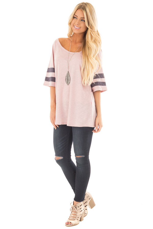 Mauve Asymmetric Top with Charcoal Striped Sleeves front full body