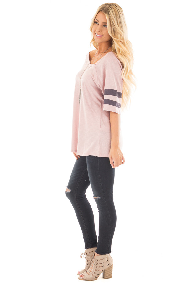 Mauve Asymmetric Top with Charcoal Striped Sleeves side full body