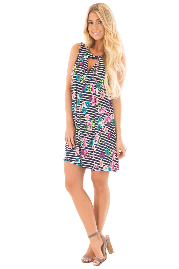 Navy Striped Floral Print Tank Dress with Keyhole Detail front full body