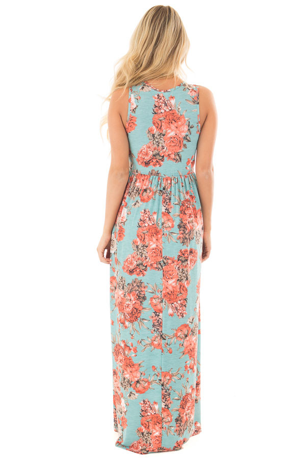 Mint Floral Print Sleeveless Dress with Side Pockets back full body