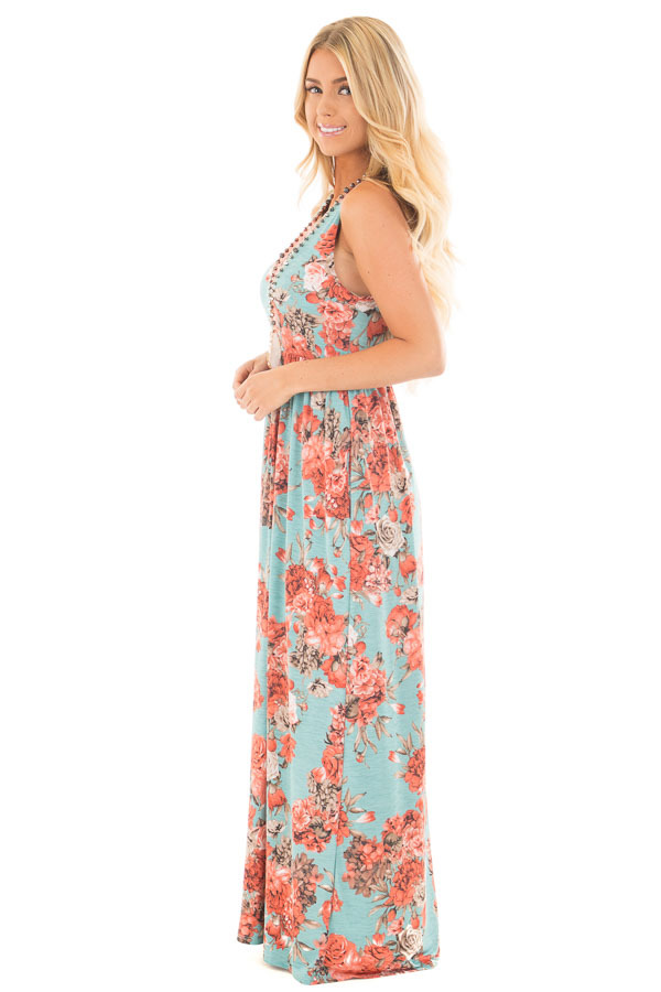 Mint Floral Print Sleeveless Dress with Side Pockets side full body