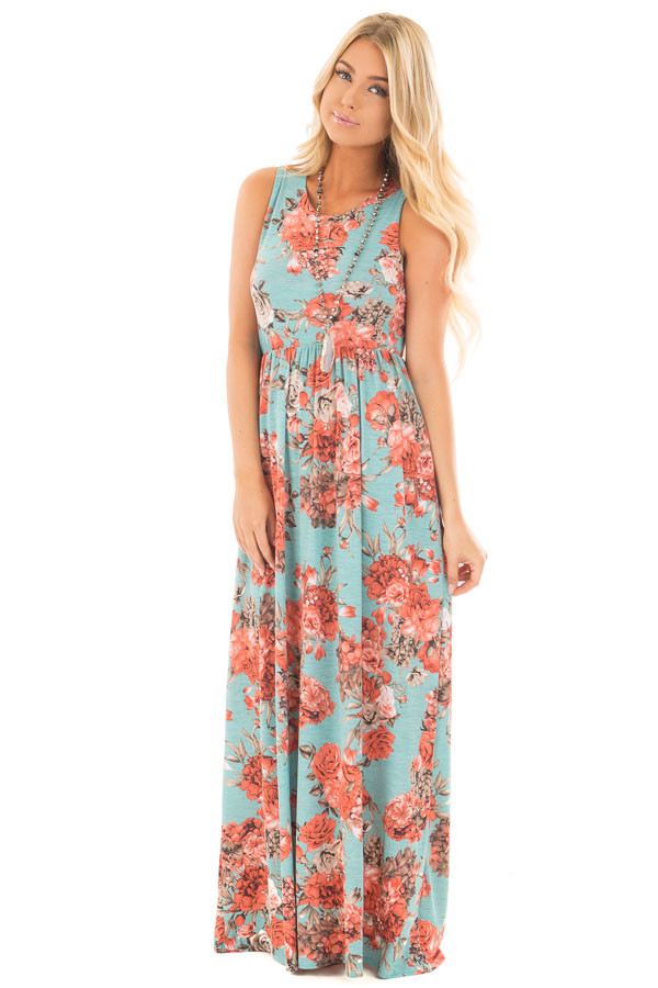 Mint Floral Print Sleeveless Dress with Side Pockets front full body