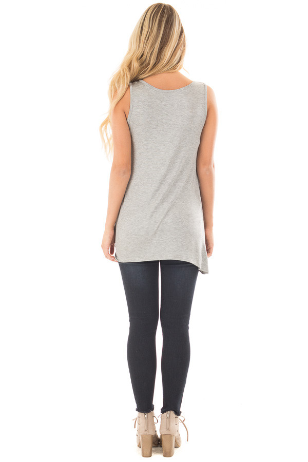 Heather Grey Loose Fit Tank with Twisted Front Detail back full body