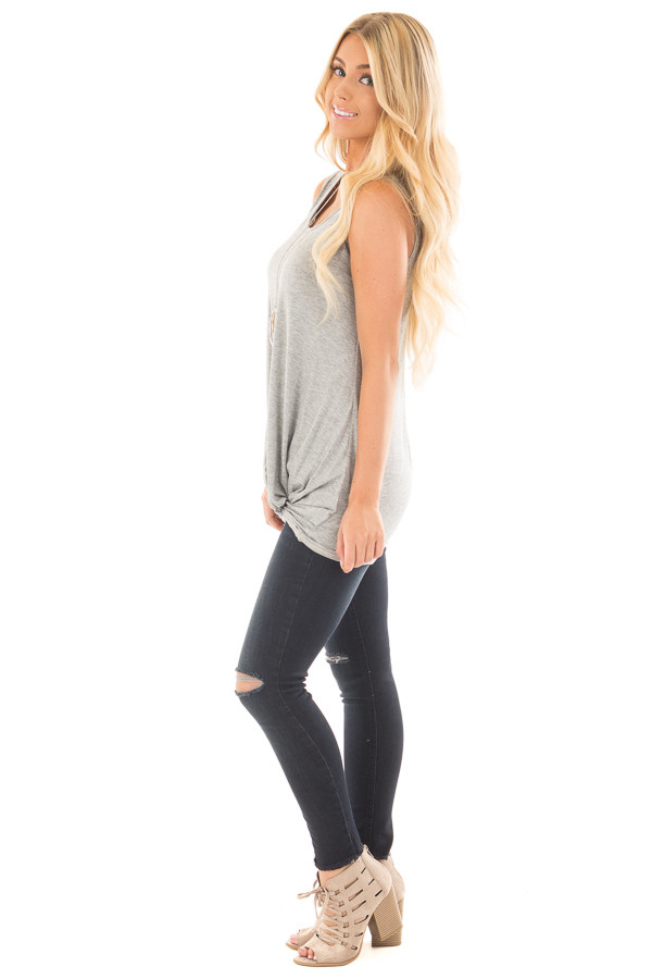 Heather Grey Loose Fit Tank with Twisted Front Detail side full body