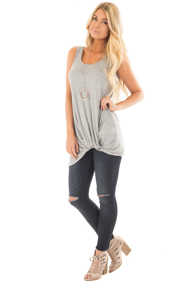 Heather Grey Loose Fit Tank with Twisted Front Detail front full body
