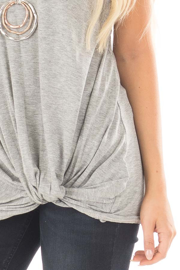 Heather Grey Loose Fit Tank with Twisted Front Detail detail
