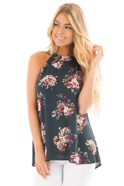 Forest Green Floral Halter Tank with Keyhole Back front close up