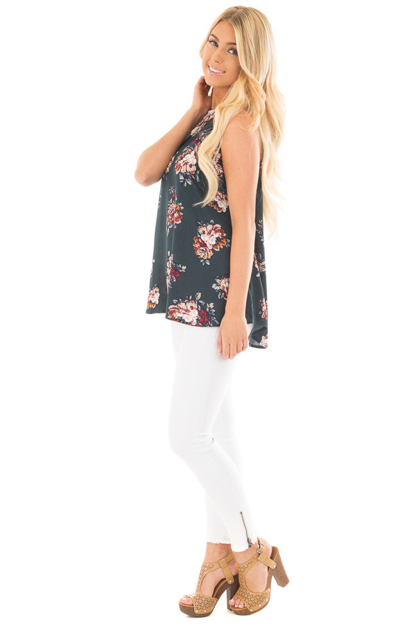 Forest Green Floral Halter Tank with Keyhole Back side full body