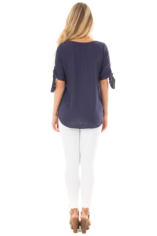 Midnight Blue Chiffon Round Neck Top with Tie Sleeve Detail back full body