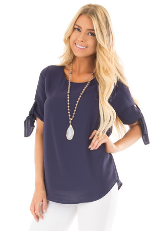 Midnight Blue Chiffon Round Neck Top with Tie Sleeve Detail front full body