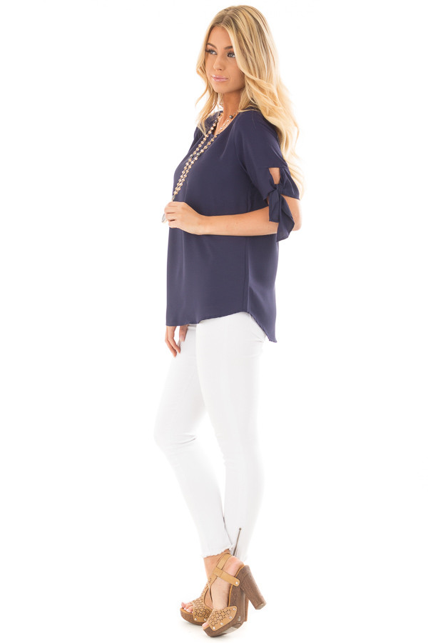 Midnight Blue Chiffon Round Neck Top with Tie Sleeve Detail side full body
