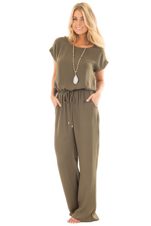 Olive Loose Fit Jumper with Tied Waist and Cuffed Sleeves front full body
