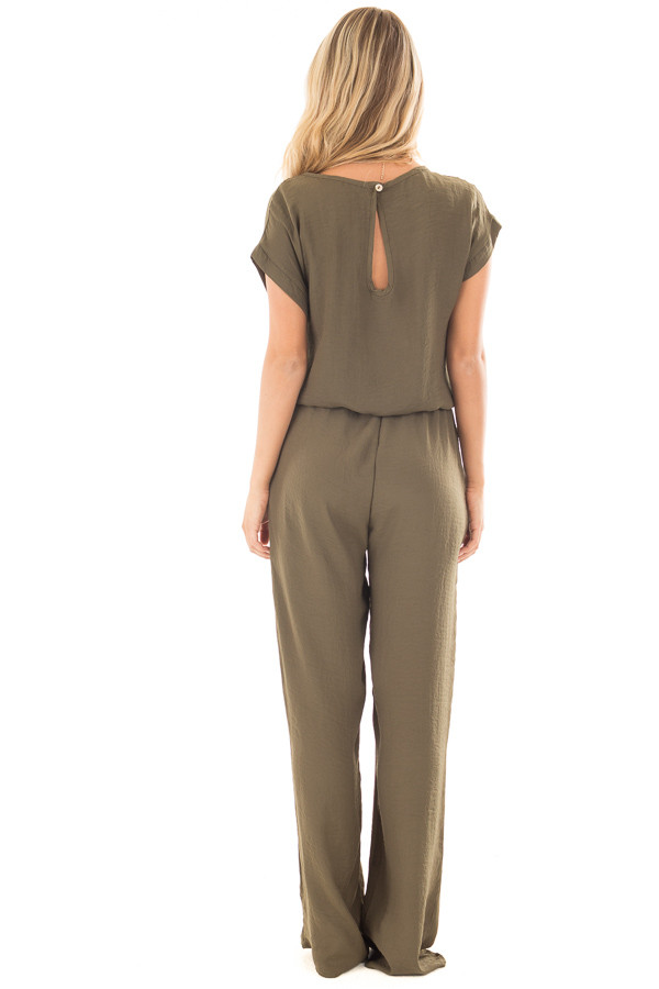 Olive Loose Fit Jumper with Tied Waist and Cuffed Sleeves back full body