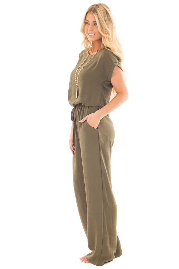 Olive Loose Fit Jumper with Tied Waist and Cuffed Sleeves side full body