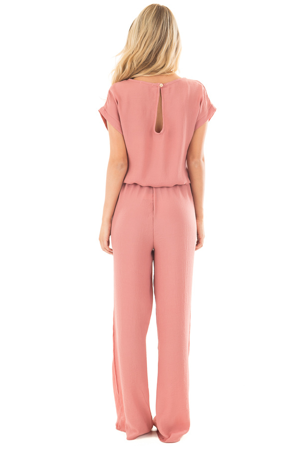 Light Coral Loose Fit Jumper with Tied Waist and Cuffed Sleeves back full body